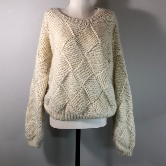Vintage Lautremont Hand-knit Wool Blend Sweater